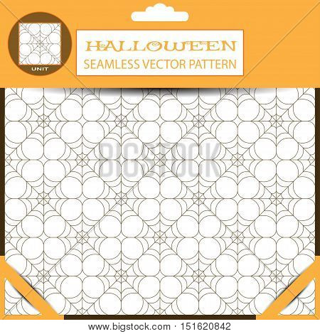 Halloween vector seamless light pattern with spiderweb in package with shadow.