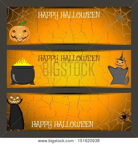 Vector set of Halloween bookmarks with wizard witch in hood with broom witches cauldron pumpkin spider on the gradient orange background.