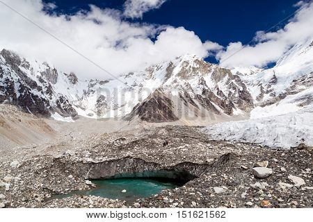 Himalayas Khumbu glacier lake. Melting ice on glaciers climate change global warming ecology concept. Mountains rocky footpath autumn landscape on the way to Mount Everest Base Camp in Nepal.