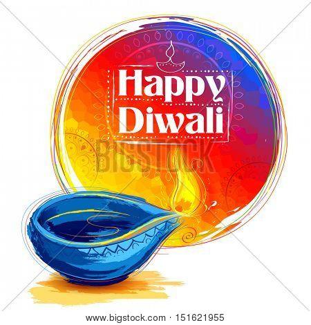 illustration of burning watercolor diya on happy Diwali Holiday background for light festival of India