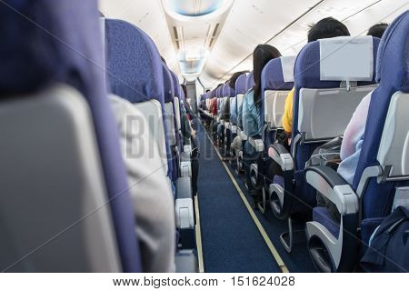 The interior of the aircraft with passengers flew