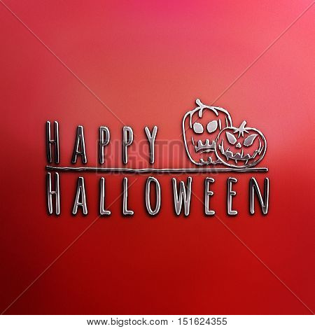Happy Halloween lettering greeting card. Horizontal banner with sinister pumpkins isolated on the grey background. Cartoon style. 3D illustration. Nickel plated steel texture. Red Halloween Poster