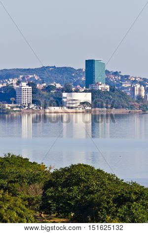 South of Porto Alegre city buidings Ibere Camargo museum can be seen in the middle of the picture.
