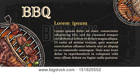 Restaurant menu template for Barbecue grill. Top view kebab, beef steak, tomato, pepper and fish. Lettered text BBQ steak. Vintage color vector engraving illustration. Isolated on dark background. For menu