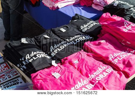 Ronks PA USA - October 11 2016: Trump Adorable Deplorable Shirts offered for sale along busy Route 30 in Lancaster County.