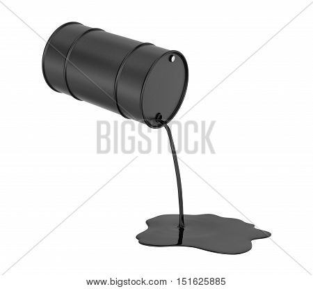 3d rendering of oil pouring from a black barrel and spilling isolated on a white background. Environmental pollution. Petroleum production. Wasting of resources