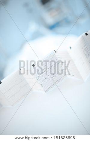 ECG screening of patient in ER. Blurred background
