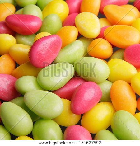 Easter candy which has the shape of the eggs in different colors.