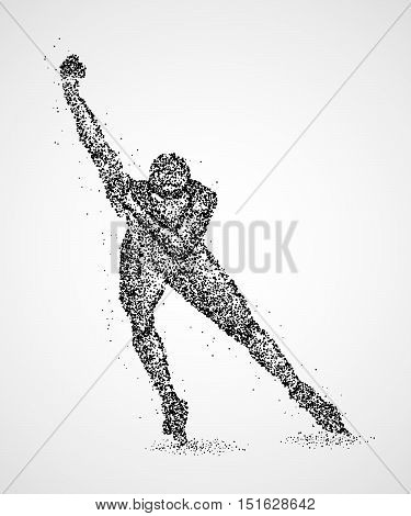 Abstract skater on the ice of black circles. Vector illustration.