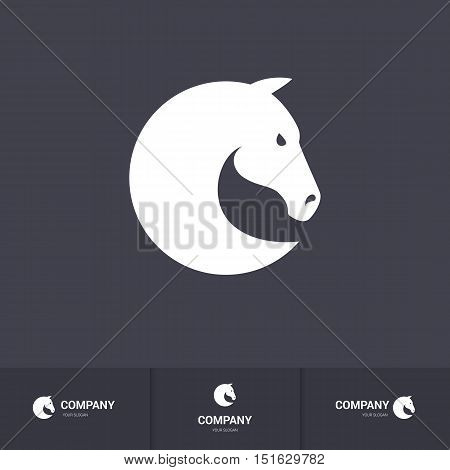 Simple Horse Head for Mascot Logo Template on Dark Background