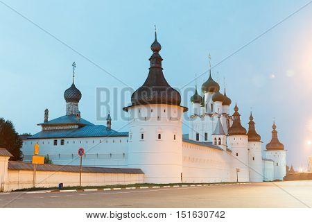 White Kremlin in Rostov Veliky, Night view in winter