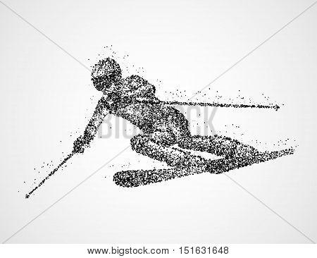 Abstract skier of black circles. Vector illustration.