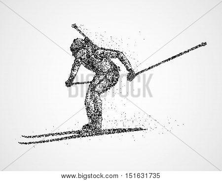 Abstract biathlete of black circles. Vector illustration.