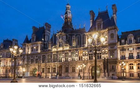 The town hall of Paris (Hotel de Ville) is the building housing the city's local administration. It has been the headquarters of the municipality of Paris since 1357.