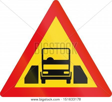 Temporary Road Sign Used In The African Country Of Botswana - Single Vehicle Width Passage Ahead