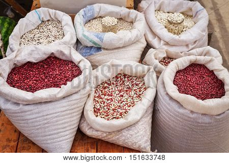 Bags of various beans on the market