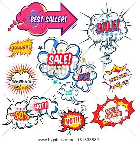 Set of comic speech bubbles with sale offers at explosive clouds of different shape isolated vector illustration