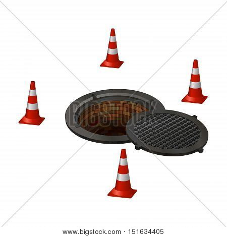 open hatch with four cones. Photo illustration.