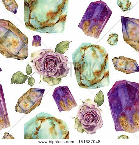 Watercolor gem stones and rose flower pattern. Jade turquoise, amethyst and rauchtopaz stones, vintage roses with leaves seamless ornament isolated on white background. For design, print.