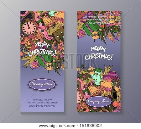 Cartoon Cute Colorful Vector Hand Drawn Doodles Merry Cristmas Season. 2 Vertical Flyers Design.