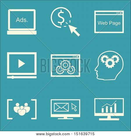 Set Of Seo, Marketing And Advertising Icons On Email Marketing, Video Advertising, Display Advertisi