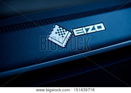 PARIS FRANCE - JAN 13 2016: Eizo logotype on the back of the professional grade color critical monitor in designer's office. Eizo is the leading producer of high performance monitors for the gaming security and color industry