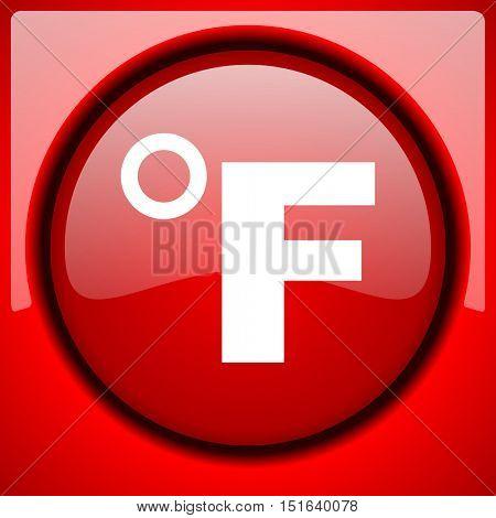 fahrenheit red icon plastic glossy button