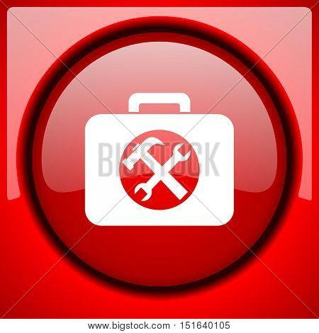 toolkit red icon plastic glossy button