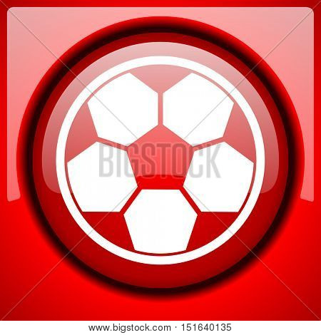 soccer red icon plastic glossy button