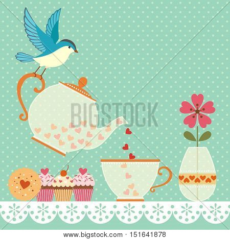 Cup of tea with love. Tea time illustration with bird, teaware  and sweets. Vector contains transparent objects. EPS 10.