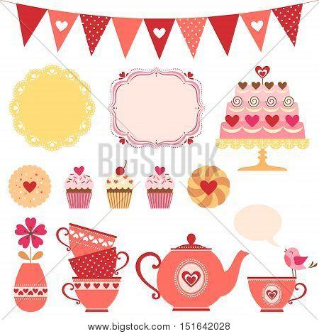 Set of Valentine's day tea party design elements.