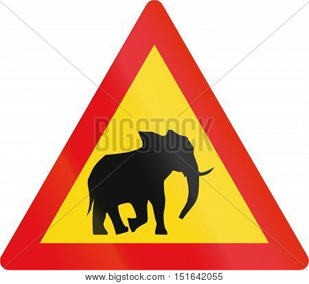 Temporary Road Sign Used In The African Country Of Botswana - Elephants