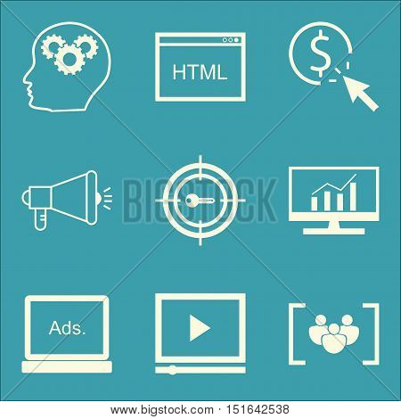 Set Of Seo, Marketing And Advertising Icons On Target Keywords, Video Advertising, Display Advertisi