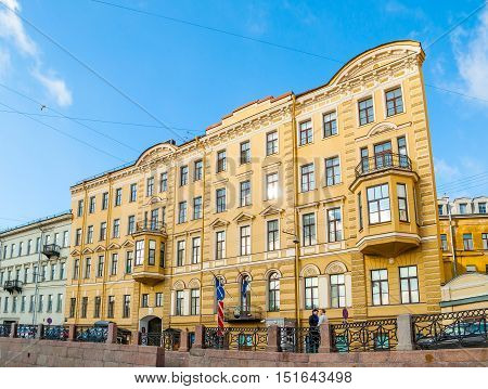 ST. PETERSBURG RUSSIA-OCTOBER 3 2016. Historic bulding at the embankment of Moika river in St. Petersburg Russia - now the placement of Consulate of Netherlands andtrade mission of France