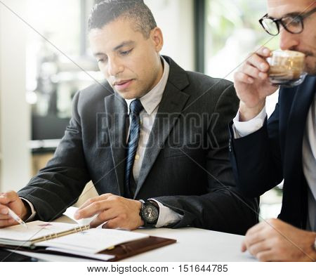 Businessmen Meeting Discussion Analysing WritingConcept