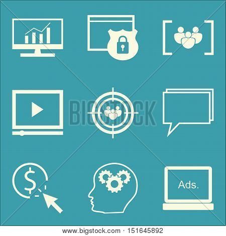 Set Of Seo, Marketing And Advertising Icons On Video Advertising, Display Advertising, Website Prote