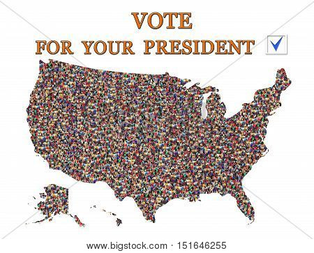 slogan to vote on presidential election with map of USA