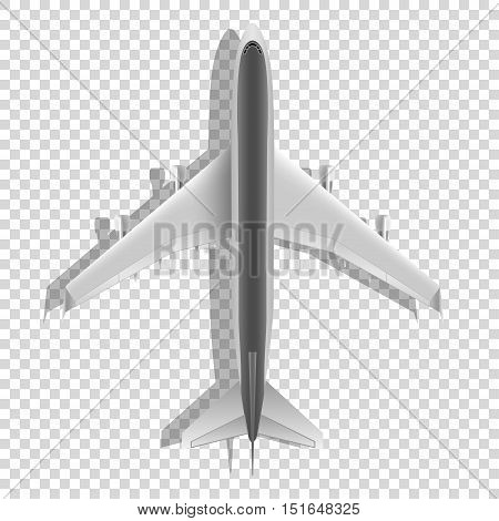 Airplane from above icon. Passenger plane isolated on transparent background. Vector eps10