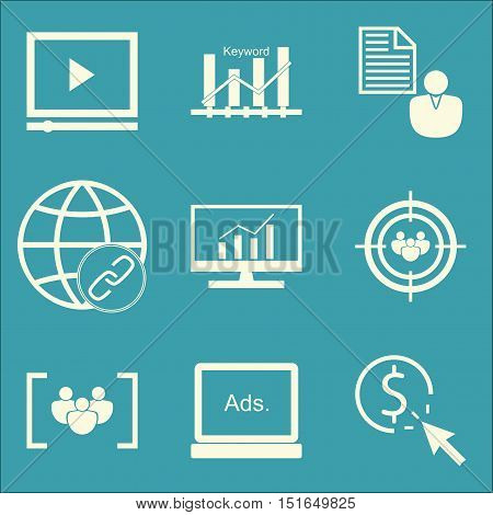 Set Of Seo, Marketing And Advertising Icons On Audience Targeting, Client Brief, Comprehensive Analy