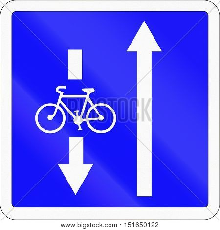 French Informational Road Sign - Oncoming Bicycles