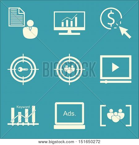 Set Of Seo, Marketing And Advertising Icons On Audience Targeting, Video Advertising, Focus Group An