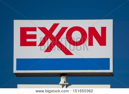 Exxon Gas Station Sign And Logo