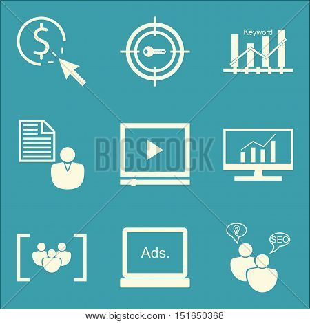 Set Of Seo, Marketing And Advertising Icons On Seo Consulting, Video Advertising, Target Keywords An