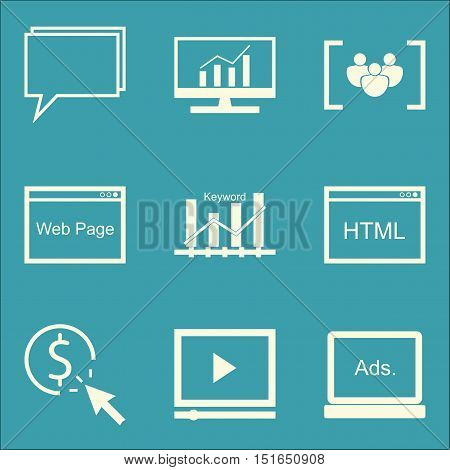 Set Of Seo, Marketing And Advertising Icons On Pay Per Click, Video Advertising, Keyword Ranking And