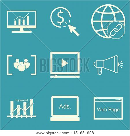 Set Of Seo, Marketing And Advertising Icons On Link Building, Video Advertising, Display Advertising