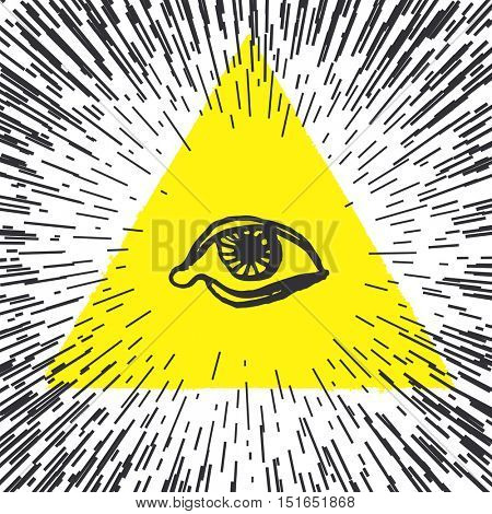 All seeing eye pyramid illustration. Freemason and spiritual.