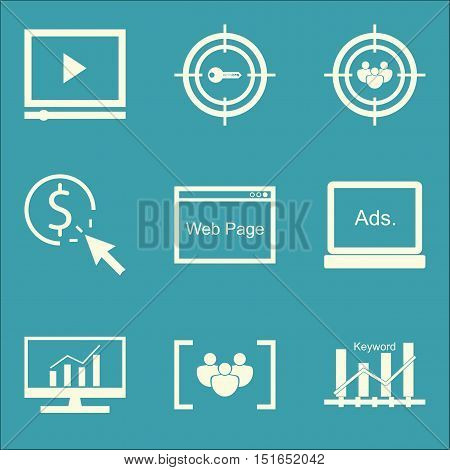 Set Of Seo, Marketing And Advertising Icons On Web Page, Keyword Ranking, Video Advertising And More