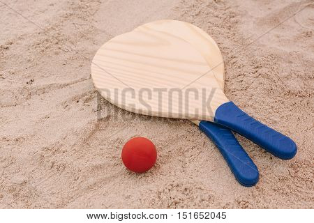 Beach Tennis, Beach Paddle Ball, Matkot. Beach Rackets And Ball On The Beach Sand