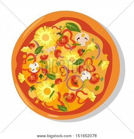 Homemade hot pizza icons. Pizza isolated on white, pepperoni pizza. Vector EPS10