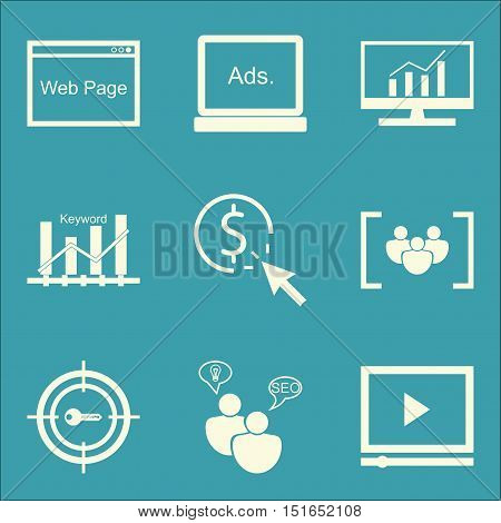 Set Of Seo, Marketing And Advertising Icons On Video Advertising, Focus Group, Comprehensive Analyti
